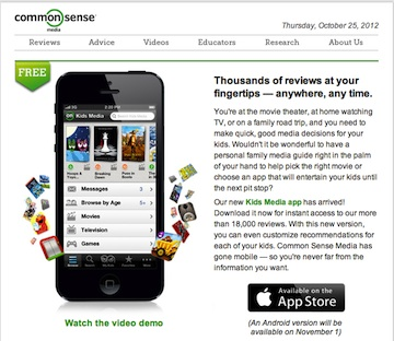 New Common Sense Media App-Free Mobile Movie Reviews and
