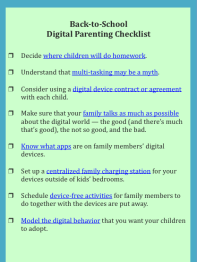 back to school digital parents checklist