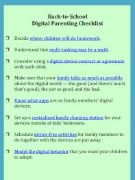 back to school digital parents checklist